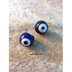 2 τεμ, 20 χλστ, Τρύπα: 2 χλστ, Χειροποίητο Γυάλινες Χάντρες, στυλ Κακο Μάτι, Στρογγυλό, Μπλε