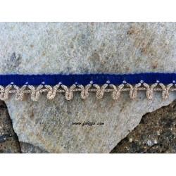 1 μετρο, 16 χλστ., Βαμβακερή Δαντέλα με Συνδέσμους, Μπλε με Χρυσό