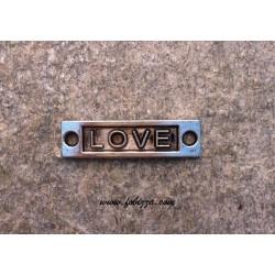 """1 τεμ, 15x9 χλστ, Μεταλλικό, Λέξη σε Ορθογωνιο με 2 Συνδέσμους, """"Love"""", Ασημί Αντίκας"""