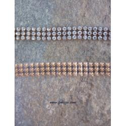 50 εκατ., 10 χλστ πάχος, Πλέγμα απο Χαλκό, Τεχνητά Κρύσταλλα και Hotfix, 3 Σειρές Cup Αλυσίδα, Χρυσή βάση, Διαφανές