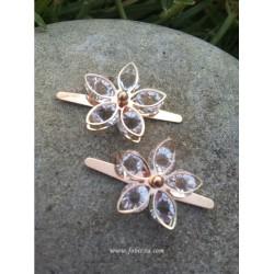 2 τεμ, 25x20 χλστ, Μεταλλικά Πόρπη Κλιπ για Σανδάλια, Λουλούδι σε Σχήμα Διαμαντιού με Τεχνητά Διαμάντια, Ελαφρύ Χρυσό