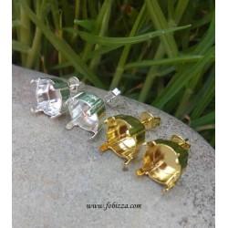 2 τεμ, 8 χλστ, Σκουλαρίκια με Κρὐσταλλο, Χωρις Σύνδεσμο, Χρυσό