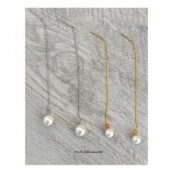 1 ζευγ, 9,5 χλστ., 304 Ανοξείδωτο Ατσάλι Επιχρυσωμένο με 18Κ χρυσό και Ασημί, Σκουλαρίκι με Προέκταση και Πέρλα Κοχύλι