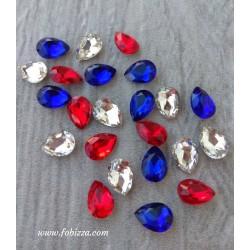 5 τεμ, Γυάλινο τεχνητό διαμάντι, Δάκρυ, Λευκό, Μπλέ, Κόκκινο