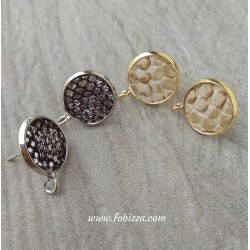 2 τεμ, 18 χλστ, Χαλκός, Σκουλαρίκι με Δέρμα , 1 Σύνδεσμο, Πλατίνα και Χρυσό
