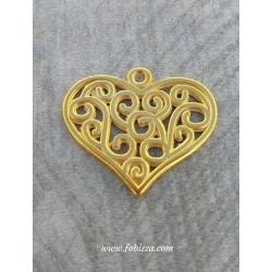 1τεμ, 25 χλστ, Ορείχαλκος Καρδιά με Μοτίβα, Χρυσό