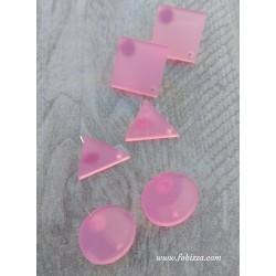 2 τεμ, 20 χλστ, Σκουλαρίκια απο Plexiglass, 1 Τρύπα, Γεωμετρικά Σχήματα, Κύκλος, Ρόμβος, Τρίγωνο, σε Ροζ