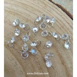 10 τεμ, 6 χλστ, Κρυσταλλό σε Σχήμα Διαμαντιού με Κρίκο, Κρεμαστό, Διαφανές