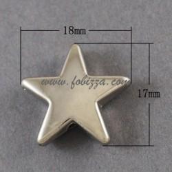 5 τεμ, 18x17x5 χλστ υψος-πλατος-παχος, 2 χλστ τρύπα, Ακρυλικές Χάντρες, Αστέρι, Πλατινέ