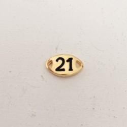"""Γουρι """"21"""", Πρωτοχρονιά, Ορείχαλκος με Σμάλτο, 2 Συνδέσμους, Χρυσό-Μαύρο"""