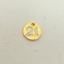 """Γουρι """"21"""", Πρωτοχρονιά, Ορείχαλκος με Σμάλτο, Κρεμαστό, Φλουρί, Χρυσό-Λευκό"""