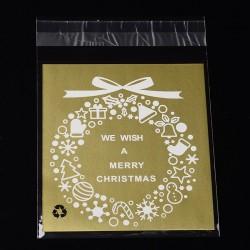 """Σακουλάκια Σελοφάν με Κόλλα, Σχέδιο και Κειμενο """"We wish a Merry Christmas"""", Χρυσό"""