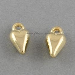 20 τεμ, 13x7 χλστ, 2 χλστ τρύπα, Ακρυλικές Χάντρες,  Καρδιά, Χρυσό