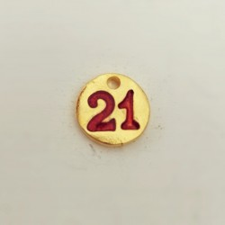 """Γουρι """"21"""", Πρωτοχρονιά, Ορείχαλκος με Σμάλτο, Κρεμαστό, Φλουρί, Χρυσό-Κόκκινο"""