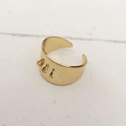 Ρυθμιζόμενο Δαχτυλίδι από Ορείχαλκο με 3 Συνδέσμους, Χρυσό