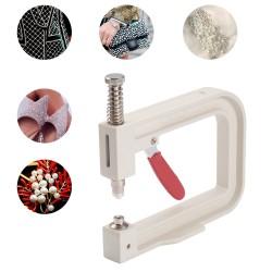 Χειροποίητη Μηχανή Ρύθμισης Μαργαριταριών χωρίς τρύπα, Εργαλείο για Ρούχα, Διακόσμηση Ρούχων, Μεταλλικό, Λευκό