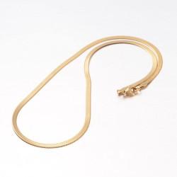 304 Ανοξείδωτο Ατσάλι, Φιδίσια Αλυσίδα Πλακέ Λαιμού, Κολιέ, Χρώμα Χρυσό