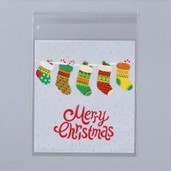 """Σακουλάκια Σελοφάν με Κόλλα, Σχέδιο με Χριστουγεννιάτικες Κάλτσες και Κειμενο """"Merry Christmas"""", Λευκό"""