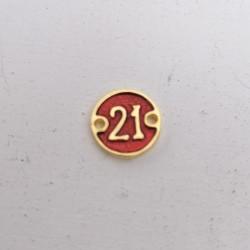 """Γουρι """"21"""", Πρωτοχρονιά, Ορείχαλκος με Σμάλτο, 2 Συνδέσμους, Χρυσό-Κόκκινο"""