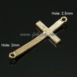 1τεμ, 49x22x4 χλστλ, Τρύπα: 2.5 χλστ, Κράμα  με Κρύσταλλα, 2 Συνδέσμους, Σταυρός, Χρυσό