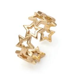 Επιχρυχωμένος με 18Κ Χρυσό Ορείχαλκος, Ρυθμιζόμενο Δαχτυλίδι, Αστέρια, Χρυσό