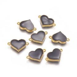 Ορείχαλκος με Σμάλτο, Καρδιά, 2 Συνδέσμους, Χρυσή Βάση, Μαύρο