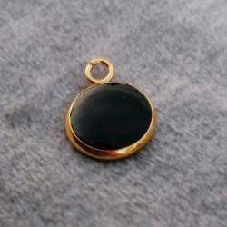 304 Ανοξειδωτο Ατσάλι με Σμάλτο, Κρεμαστό, Χρυσή Βάση, Μαύρο