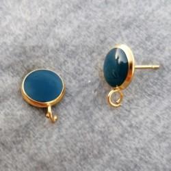 304 Ανοξειδωτο Ατσάλι με Σμάλτο, Στρογγυλό Σκουλαρίκι με Σύνδεσμο, Χρυσή Βάση, Μπλε