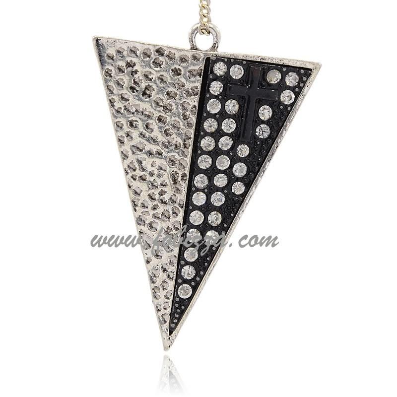 Κράμα, Μεγάλο Τρίγωνικό Μενταγιόν με κρύσταλλο, Ασήμι Αντίκας, 66x45x4χιλ., Τρύπα: 3 χιλ.