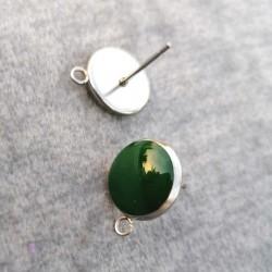 304 Ανοξειδωτο Ατσάλι με Σμάλτο, Στρογγυλό Σκουλαρίκι με Σύνδεσμο, Ατσάλινη Βάση, Πράσινο