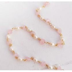Ροζάριο με Φυσικά Μαργαριτάρια και Αμέθυστο, 304 Ανοξείδωτο Ατσάλι, Χρυσή Βάση, Ροζ και Λευκό