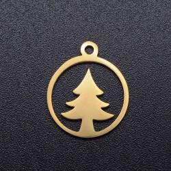 304 Ανοξείδωτο Ατσάλι, Δέντρο, Φλατ Στρογγυλό, Κρεμαστό, Χρυσό