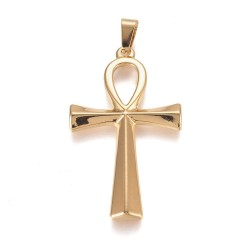 304 Ανοξείδωτο Ατσάλι, Αιγυπτιακός Σταυρός, Κρεμαστό, Χρυσό