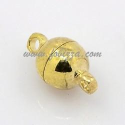 2 τεμ, 12x6 χλστ, Τρύπα 1 χλστ, Χαλκός, Μαγνητικό Κούμπωμα, Στρογγυλό, Χρυσό