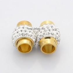 1 τεμ, 18x13χλστ, Τρύπα 7 χλστ, Χαλκός Επιχρυσωμένος με Πολυμελές Πυλό και Τεχνητά Κρύσταλλα, Μαγνητικό Κούμπωμα, Στήλη, Χρυσό