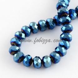 Γυάλινη Πολύπλευρη Χάντρα, Αβακας, Μπλε ηλεκτρομεταλλικό χρώμα, 8x6 ~ 7 χιλιοστά, Τρύπα: 1χιλ
