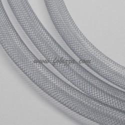 5 μέτρα, 4 χλστ, Πλαστικά Δίκτυ σε Κορδόνι, Πλέγμα Σωλήνα, Ανοιχτό Γκρι