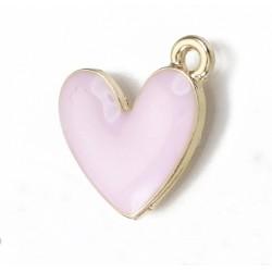 Ορείχαλκος με Σμάλτο, Καρδιά, Κρεμαστό, Χρυσή Βάση, Ροζ