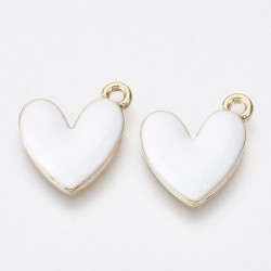 Ορείχαλκος με Σμάλτο, Καρδιά, Κρεμαστό, Χρυσή Βάση, Λευκό