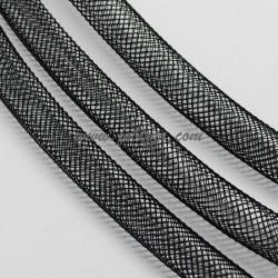 5 μέτρα, 4 χλστ, Πλαστικό Δίκτυ σε Κορδόνι, Πλέγμα Σωλήνα, Μαύρο
