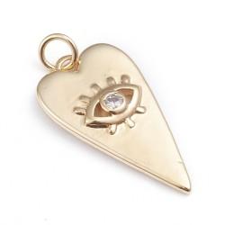Επίχρυσο με 18Κ Χρυσό και Ζιρκόν, Καρδιά με Μάτι, Κρεμαστό, Χρυσό