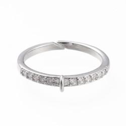 Επάργυρο Δαχτυλίδι με Ζιρκόν και Σύνδεσμο, Ρυθμιζόμενο,Πλατίνας