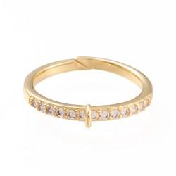 Επίχρυσο Δαχτυλίδι με Ζιρκόν και Σύνδεσμο, Ρυθμιζόμενο, Χρυσό