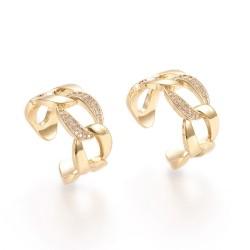 Επίχρυσο Δαχτυλίδι με 18Κ Χρυσό και Ζιρκόν, Αλυσίδα, Ρυθμιζόμενο, Χρυσό