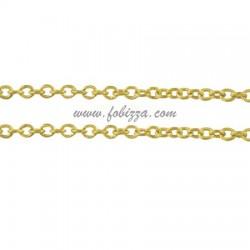 1 μέτρο, 2x1,5 χλστ, 0.5 χλστ λεπτή, Αλυσίδα από Χαλκό, Σταυρωτή, Χρυσό