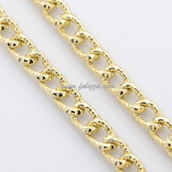 1μ, 10x7 χλστ, Αλουμινίου Στριφτή Αλυσίδα με χαλιναγώγηση, Χρυσό