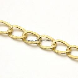 1μ, 12x8 χλστ, Αλουμινίου Οβαλ Αλυσίδα με χαλιναγώγηση, Χρυσό