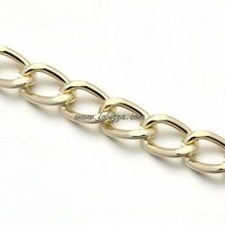 1μ, 13x9 χλστ, Αλουμινίου Οβαλ Αλυσίδα με χαλιναγώγηση, Ανοιχτή, Χρυσό