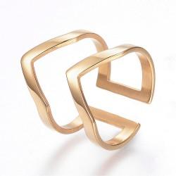 304 Ανοξείδωτο Ατσάλι, Διπλό Δαχτυλίδι Γωνίες, Χρυσό