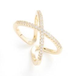 Επίχρυσο Δαχτυλίδι με 18Κ Χρυσό και Ζιρκόν, Σχήμα Χ, Ρυθμιζόμενο, Χρυσό
